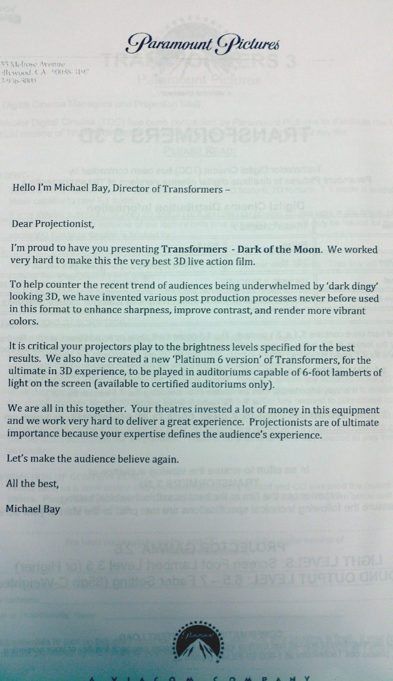 michaelbay letter Michael Bay Knows How to Do Your Job Better Than You Do