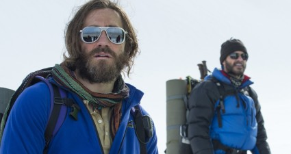 "This photo provided by Universal Pictures shows, Jake Gyllenhaal, from left, as Scott Fischer, Michael Kelly as Jon Krakauer, and Josh Brolin as Beck Weathers, in the film ""Everest."" The film debuts in IMAX/3D exclusively on Friday, Sept. 18, 2015, and opens wider in theaters the following week. (Jasin Boland/Universal Pictures via AP)"