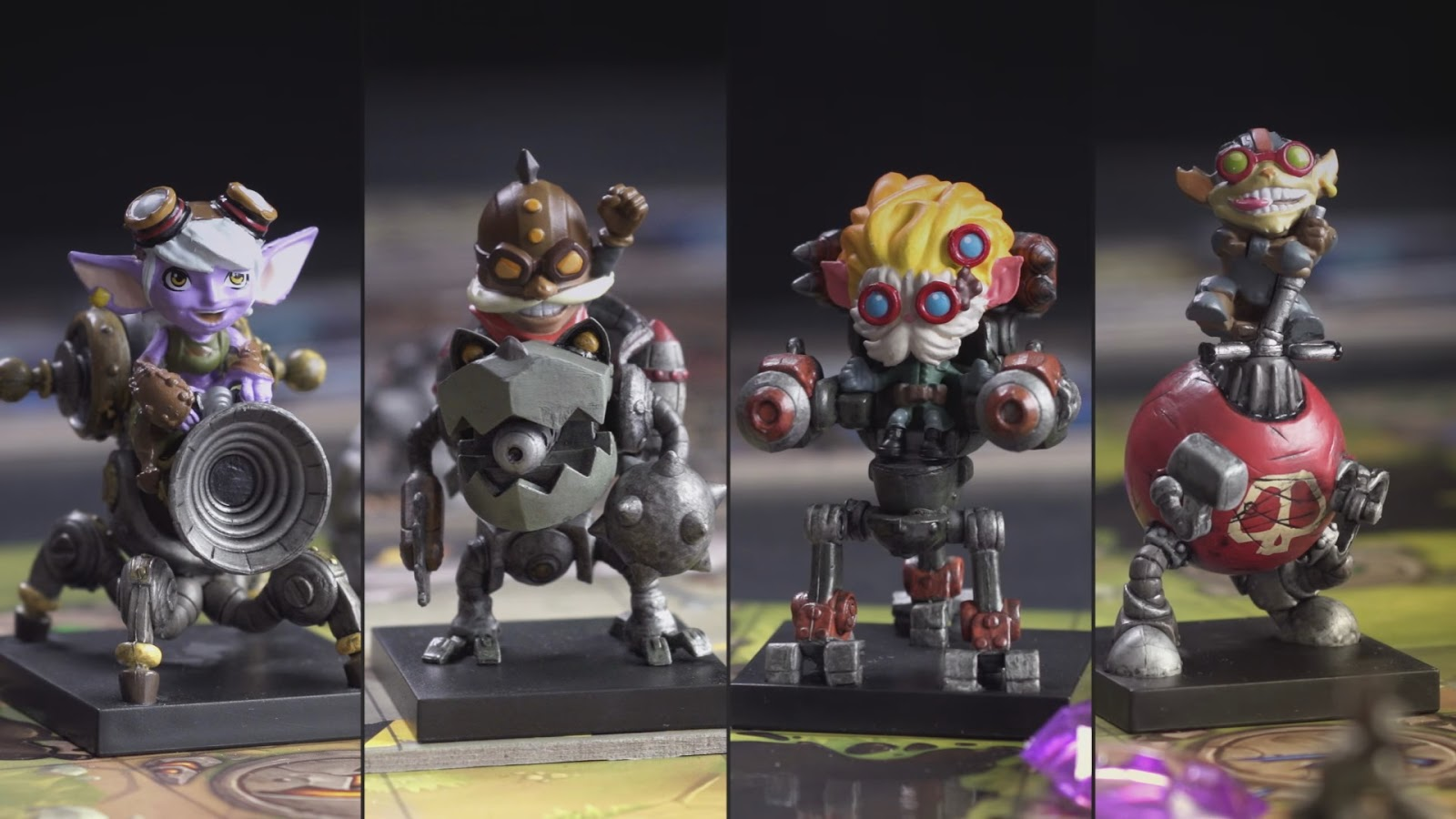 The four fully painted mechs