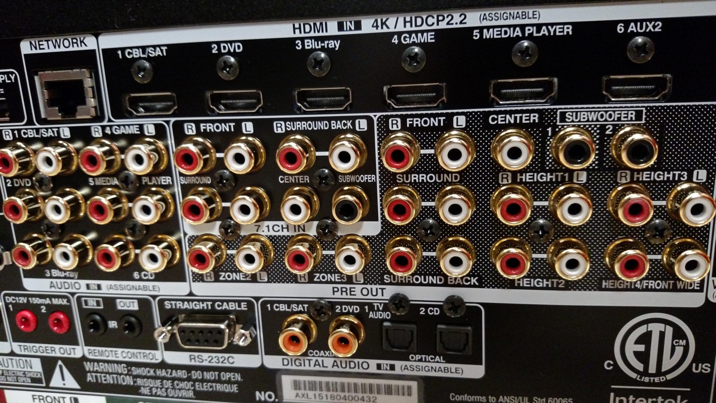 Denon AVR-X8500H rear panel audio inputs & outputs