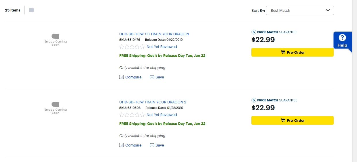 Best Buy How to Train Your Dragon UHD listings