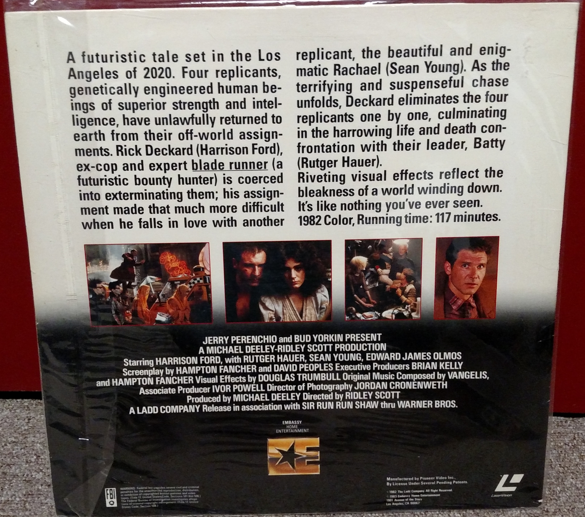 Blade Runner Laserdisc: Embassy 1983 (back)