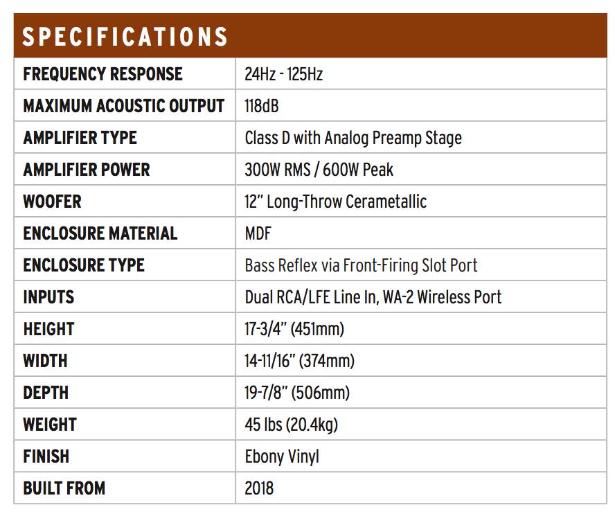 Klipsch SPL-120 Subwoofer Specifications