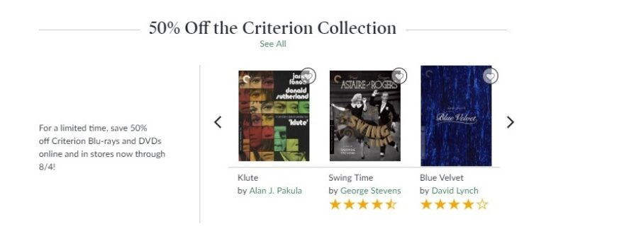 Barnes & Noble Criterion Collection Sale July 2019
