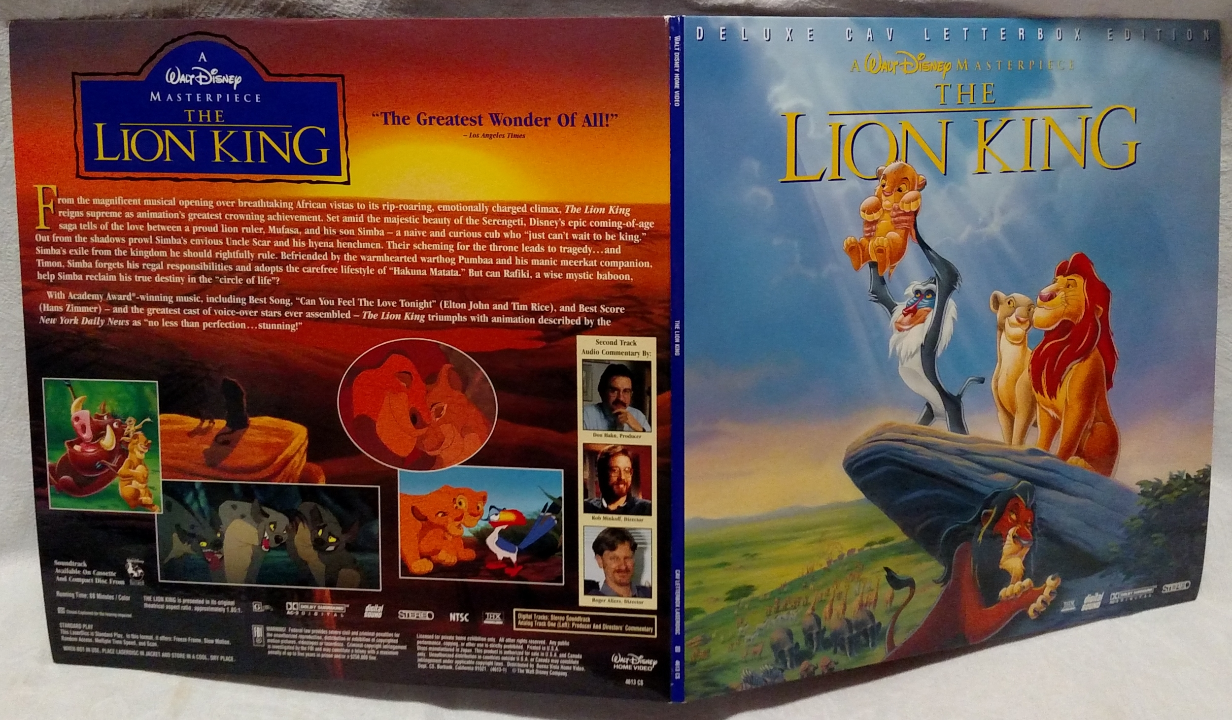 The Lion King Laserdisc - Movie Gatefold Front & Rear