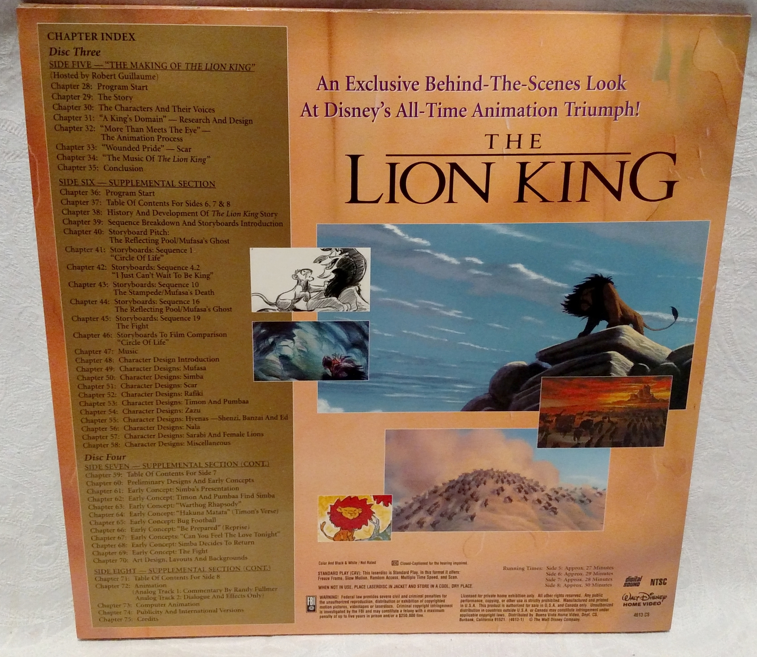The Lion King Laserdisc - Supplements Back