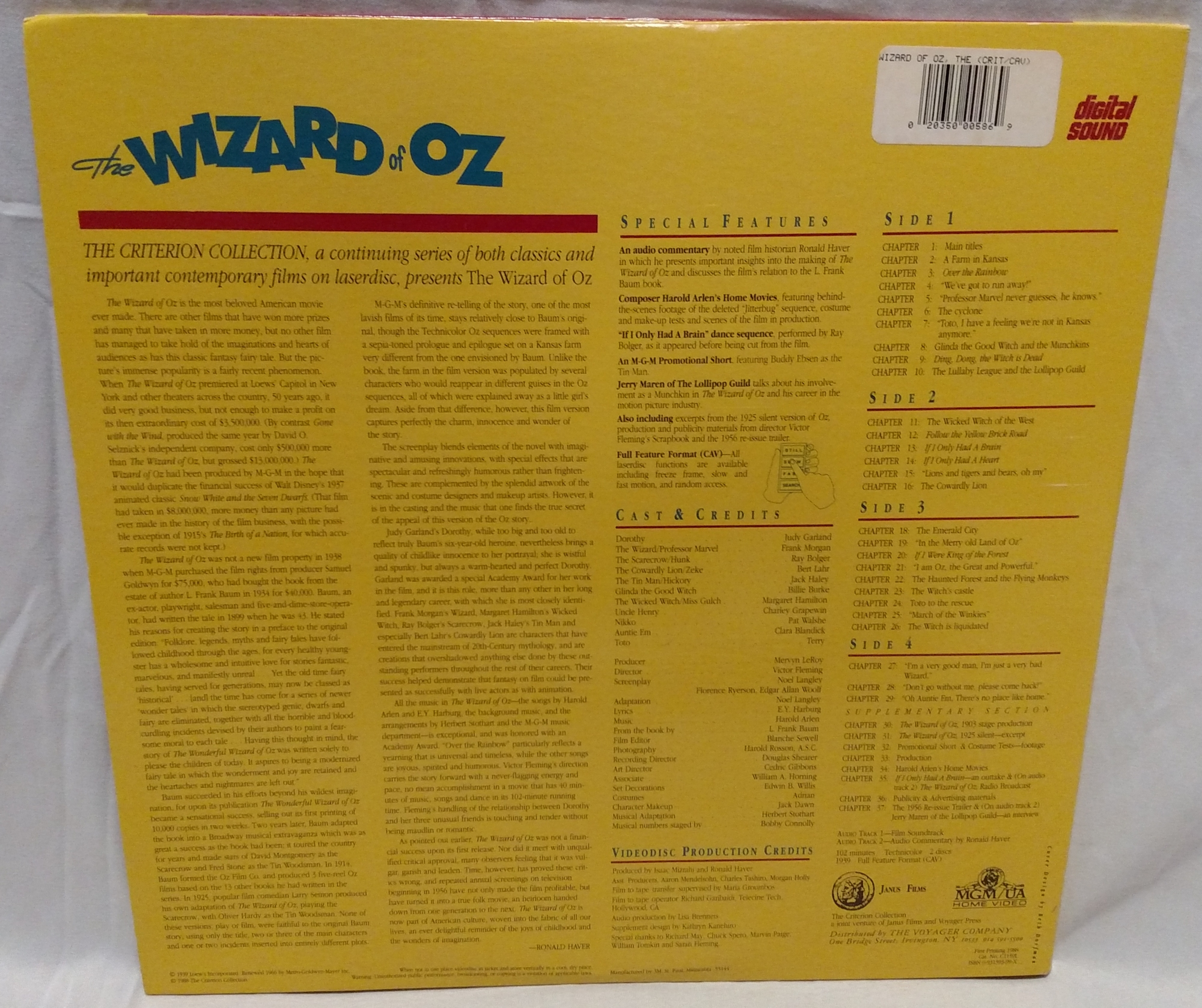 The Wizard of Oz - 1988 Criterion Laserdisc Back Cover