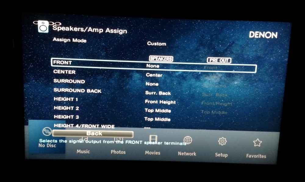 Denon Receiver Amp Assign Settings