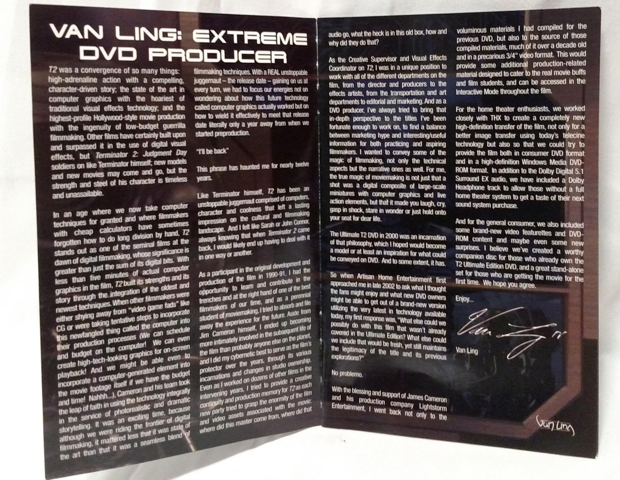 Terminator 2 Extreme DVD booklet
