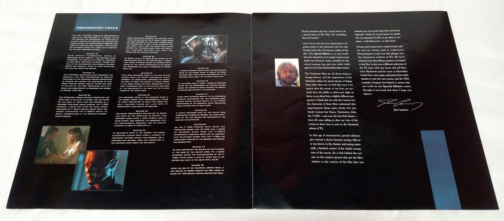 Terminator 2: Pioneer Special Edition Laserdisc booklet