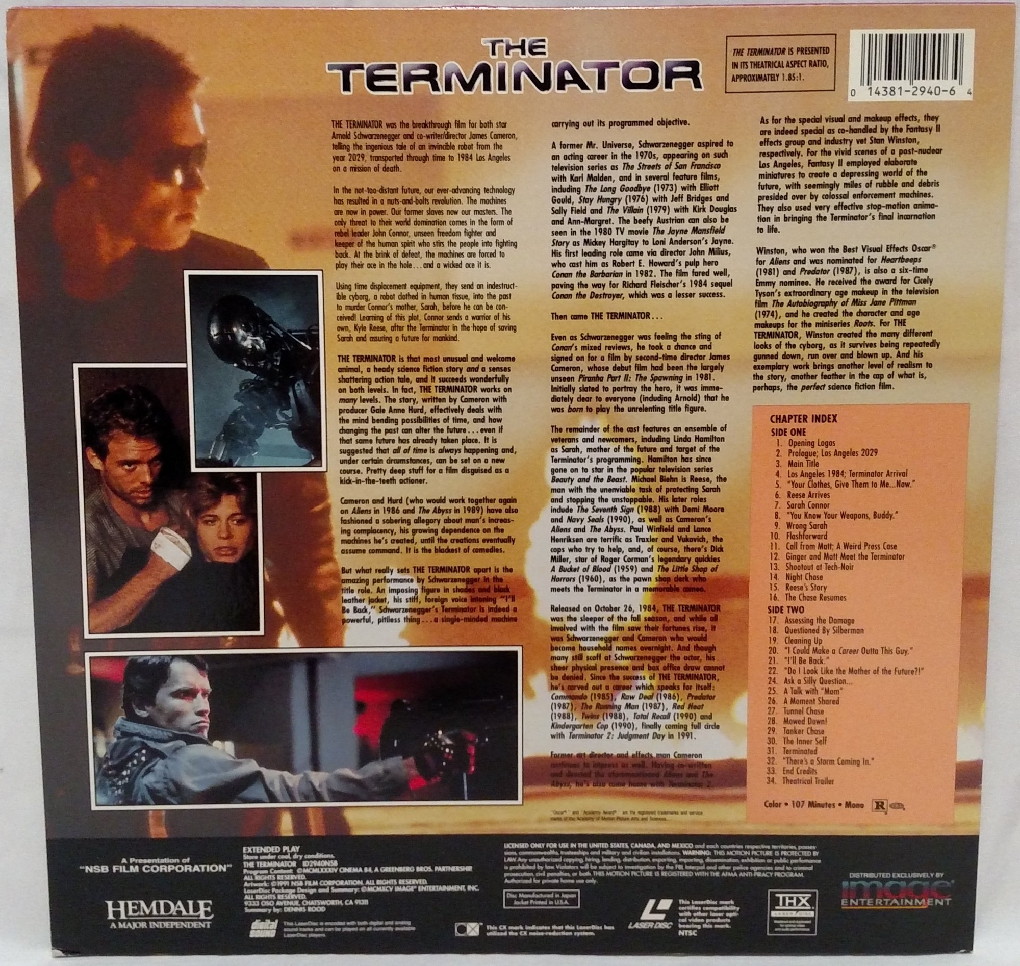 The Terminator Laserdisc back cover