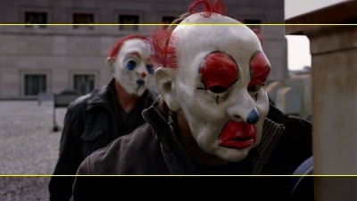 Aspect ratio differences in 'The Dark Knight'. Yellow lines represent the 2.35:1 framing.