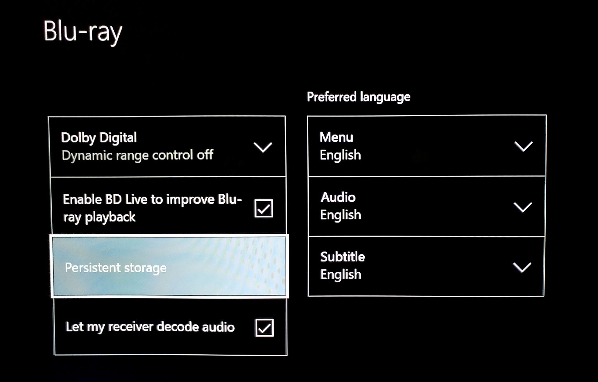 Xbox One S Bitstream Ultra HD Blu-ray AVR setting