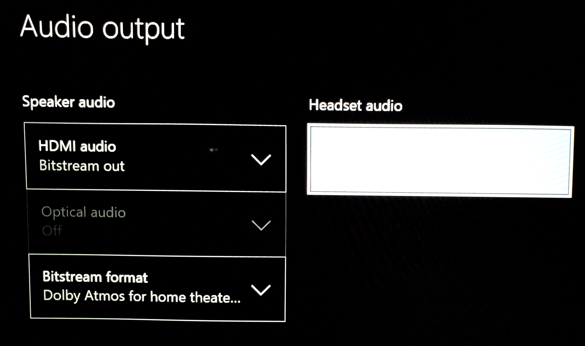 Xbox One S Bitstream Dolby Atmos gaming and streaming setting