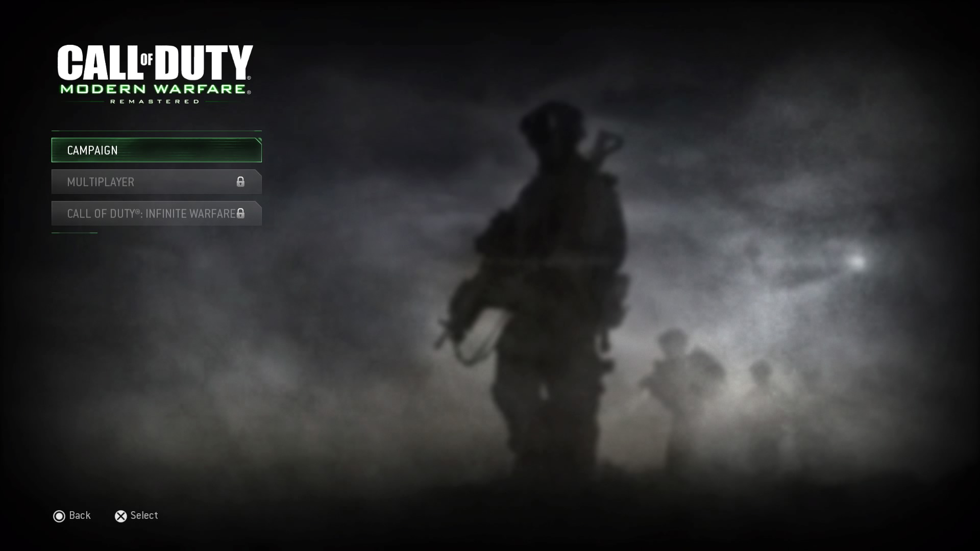 Call of Duty: Modern Warfare Remastered PS4 title campaign screen