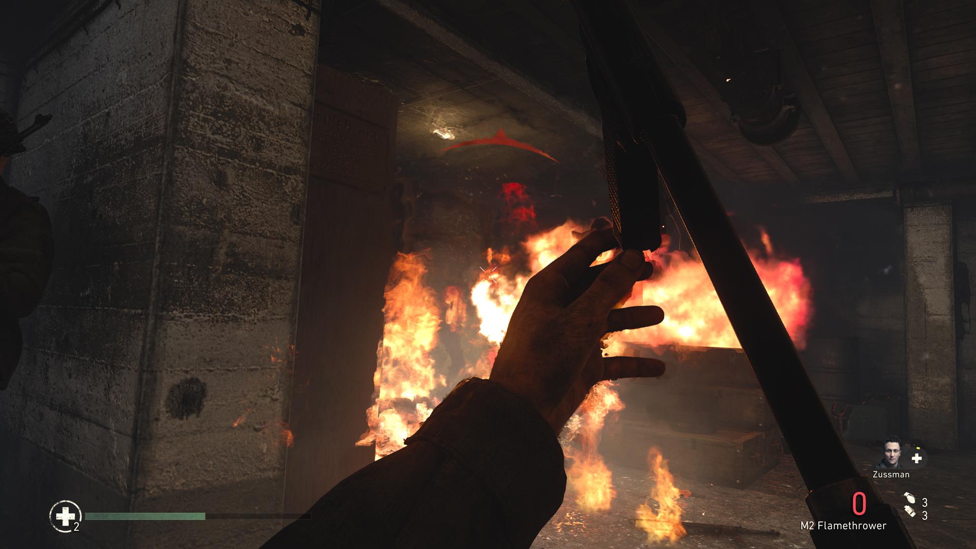 Call of Duty World War II Xbox One x flamethrower