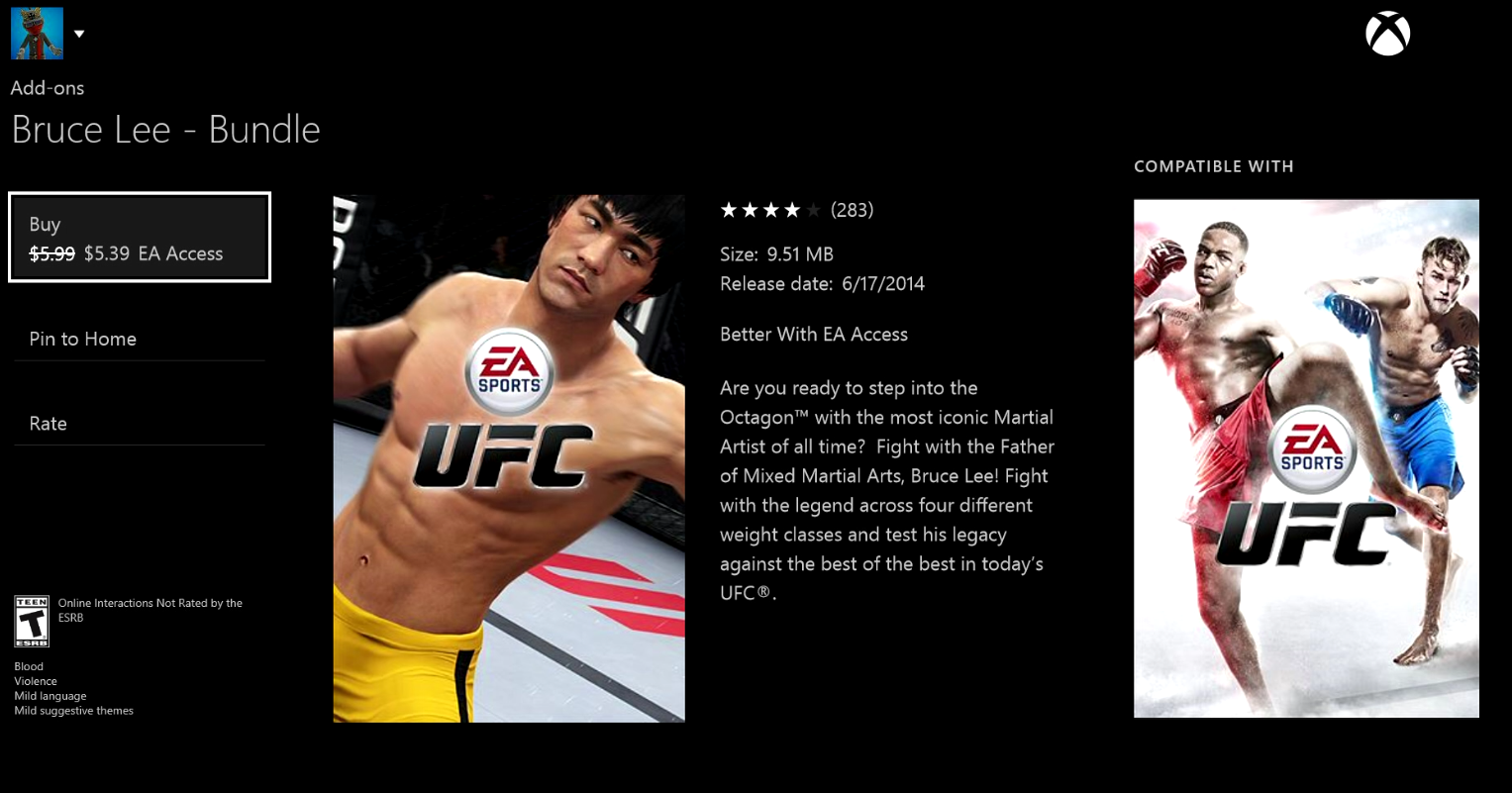 EA Access Bruce Lee UFC Xbox One Details Price Cost Vault Games