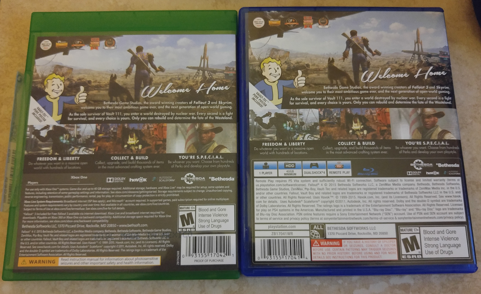 Fallout 4 Xbox One PS4 box back
