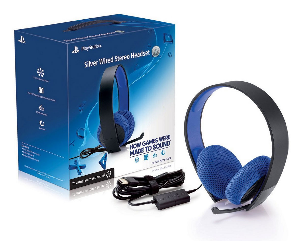 playstation silver wired stereo headset out now brings 7 1 virtual surround to the ps4 ps3. Black Bedroom Furniture Sets. Home Design Ideas
