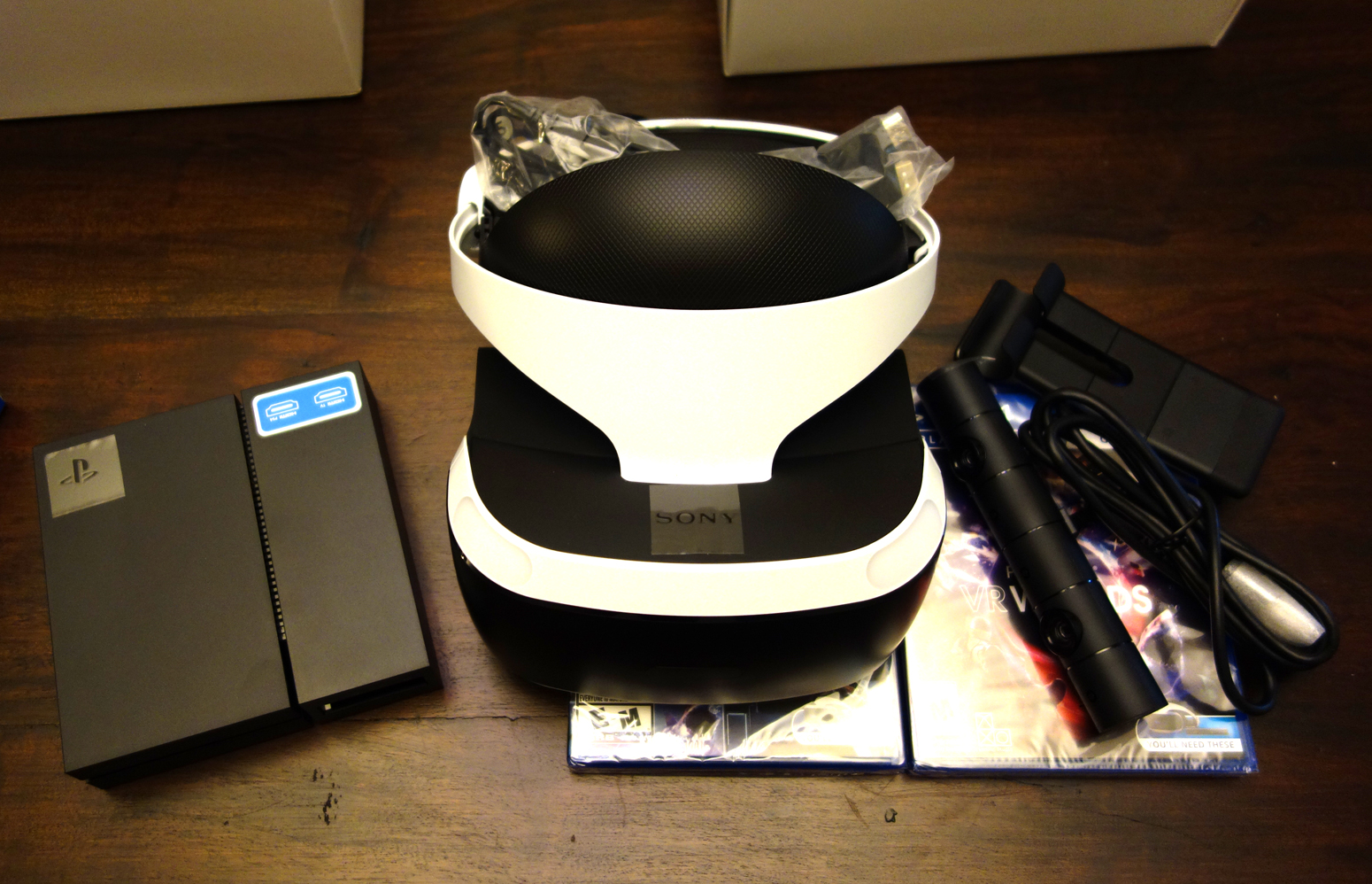 PlayStation VR Launch Bundle Unboxing - Headset, Camera, Processor box, Discs