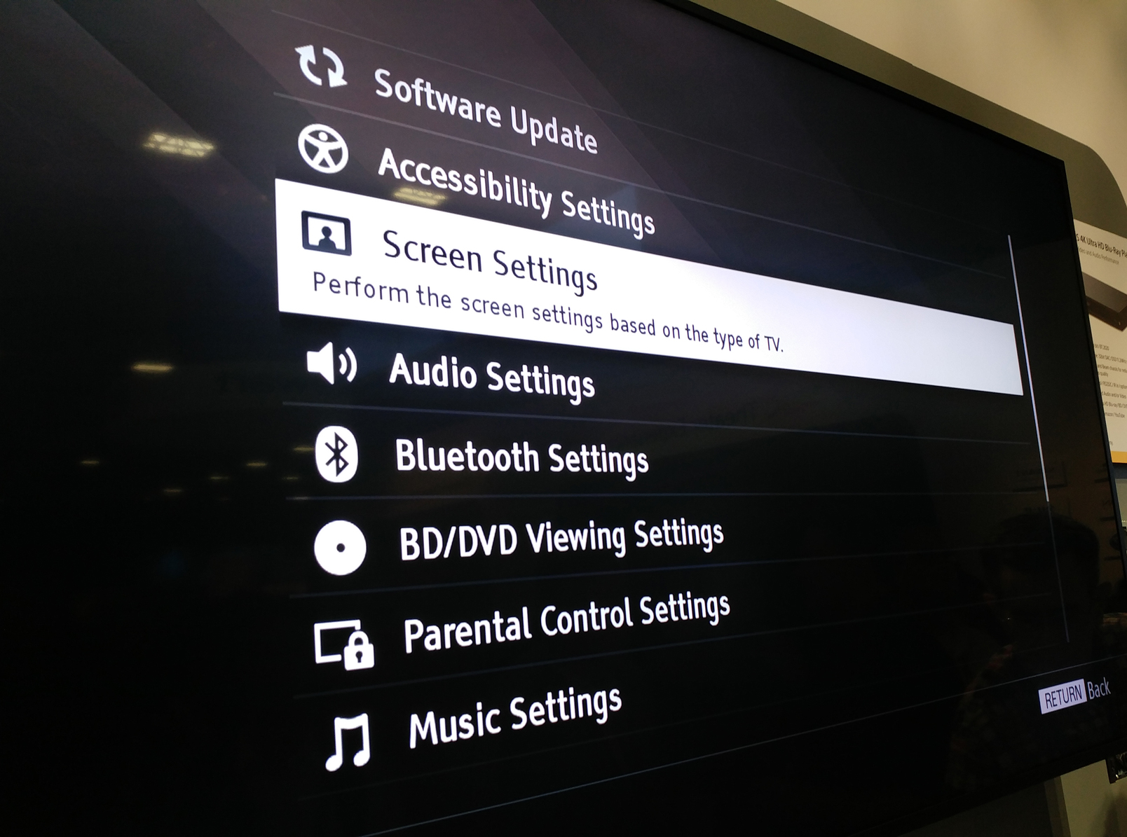 Sony UBP-X1000ES Ultra Hd Blu-ray Player CEDIA 2016 Impressions Screen Settings