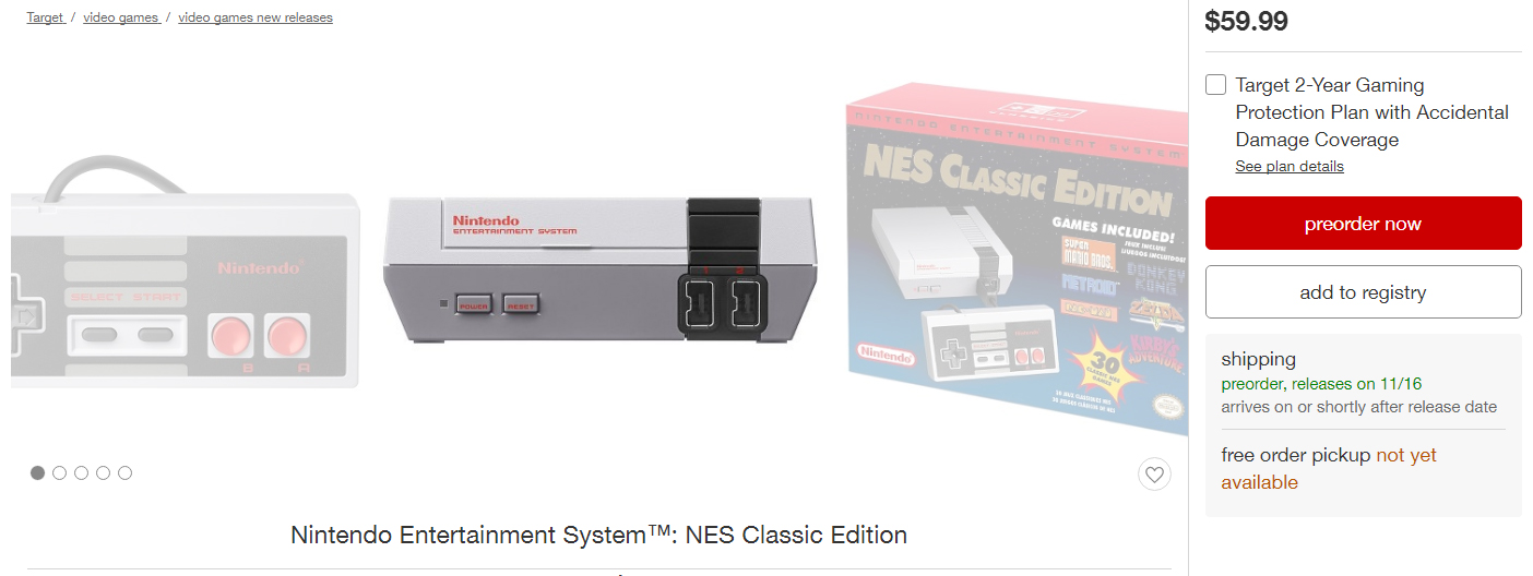 Target Preorder NES Classic Edition