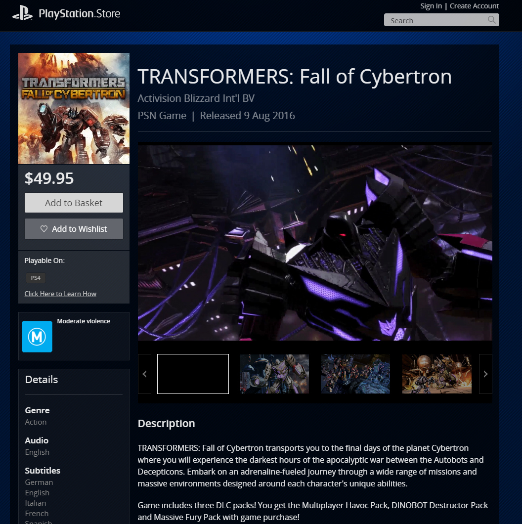 'Transformers: Fall of Cybertron' PS4 listing with DLC