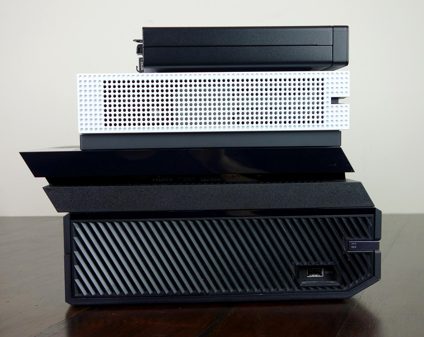 Xbox One S stack PS4 OG HP EliteDesk side